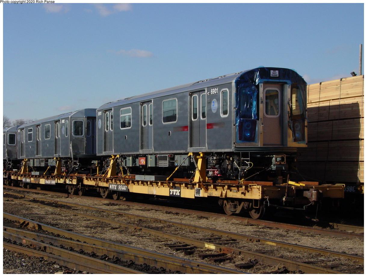 (81k, 820x620)<br><b>Country:</b> United States<br><b>City:</b> New York<br><b>System:</b> New York City Transit<br><b>Location:</b> LIRR/NY & Atlantic RR Fresh Pond Yard <br><b>Car:</b> R-142 (Primary Order, Bombardier, 1999-2002)  6901 <br><b>Photo by:</b> Richard Panse<br><b>Date:</b> 1/21/2003<br><b>Viewed (this week/total):</b> 9 / 7508