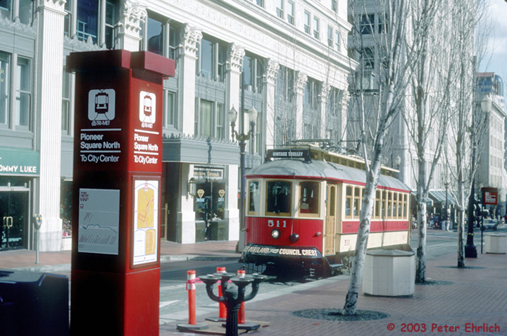 (169k, 720x477)<br><b>Country:</b> United States<br><b>City:</b> Portland, OR<br><b>System:</b> Portland Vintage Trolley<br><b>Line:</b> MAX Blue (East-West) Line<br><b>Location:</b> Pioneer Square North <br><b>Car:</b> PVT Council Crest (Gomaco Replica) 511 <br><b>Photo by:</b> Peter Ehrlich<br><b>Date:</b> 2/15/1992<br><b>Viewed (this week/total):</b> 2 / 2481