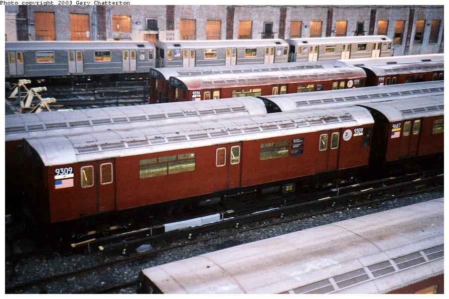 (109k, 895x596)<br><b>Country:</b> United States<br><b>City:</b> New York<br><b>System:</b> New York City Transit<br><b>Location:</b> Corona Yard<br><b>Car:</b> R-33 World's Fair (St. Louis, 1963-64) 9309 <br><b>Photo by:</b> Gary Chatterton<br><b>Date:</b> 10/2002<br><b>Viewed (this week/total):</b> 7 / 2363