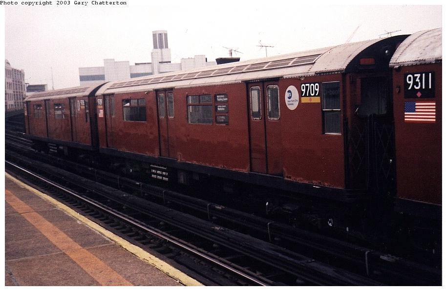 (76k, 915x596)<br><b>Country:</b> United States<br><b>City:</b> New York<br><b>System:</b> New York City Transit<br><b>Line:</b> IRT Flushing Line<br><b>Location:</b> Court House Square/45th Road <br><b>Route:</b> 7<br><b>Car:</b> R-36 World's Fair (St. Louis, 1963-64) 9709 <br><b>Photo by:</b> Gary Chatterton<br><b>Date:</b> 2/2003<br><b>Viewed (this week/total):</b> 1 / 2841