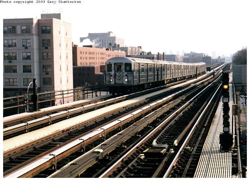 (97k, 800x581)<br><b>Country:</b> United States<br><b>City:</b> New York<br><b>System:</b> New York City Transit<br><b>Line:</b> IRT Woodlawn Line<br><b>Location:</b> 161st Street/River Avenue (Yankee Stadium) <br><b>Route:</b> 4<br><b>Car:</b> R-62 (Kawasaki, 1983-1985)  1311 <br><b>Photo by:</b> Gary Chatterton<br><b>Date:</b> 4/2/2003<br><b>Viewed (this week/total):</b> 0 / 4971
