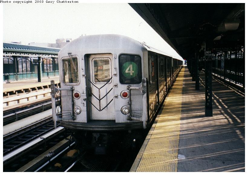 (80k, 820x581)<br><b>Country:</b> United States<br><b>City:</b> New York<br><b>System:</b> New York City Transit<br><b>Line:</b> IRT Woodlawn Line<br><b>Location:</b> 167th Street <br><b>Route:</b> 4<br><b>Car:</b> R-62 (Kawasaki, 1983-1985)  1331 <br><b>Photo by:</b> Gary Chatterton<br><b>Date:</b> 4/2/2003<br><b>Viewed (this week/total):</b> 0 / 5497