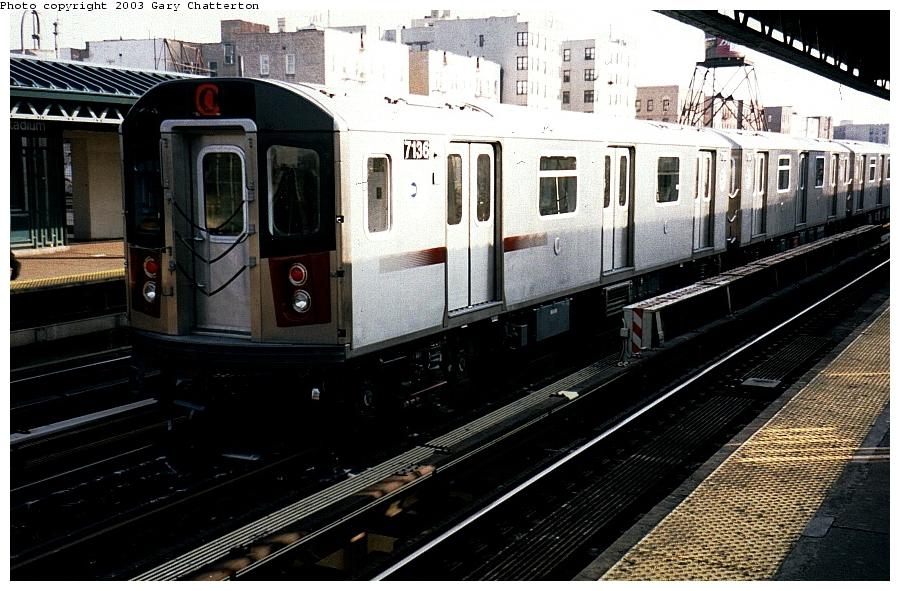 (101k, 900x591)<br><b>Country:</b> United States<br><b>City:</b> New York<br><b>System:</b> New York City Transit<br><b>Line:</b> IRT Woodlawn Line<br><b>Location:</b> 161st Street/River Avenue (Yankee Stadium) <br><b>Route:</b> 4<br><b>Car:</b> R-142 (Option Order, Bombardier, 2002-2003)  7136 <br><b>Photo by:</b> Gary Chatterton<br><b>Date:</b> 4/2/2003<br><b>Viewed (this week/total):</b> 0 / 4426
