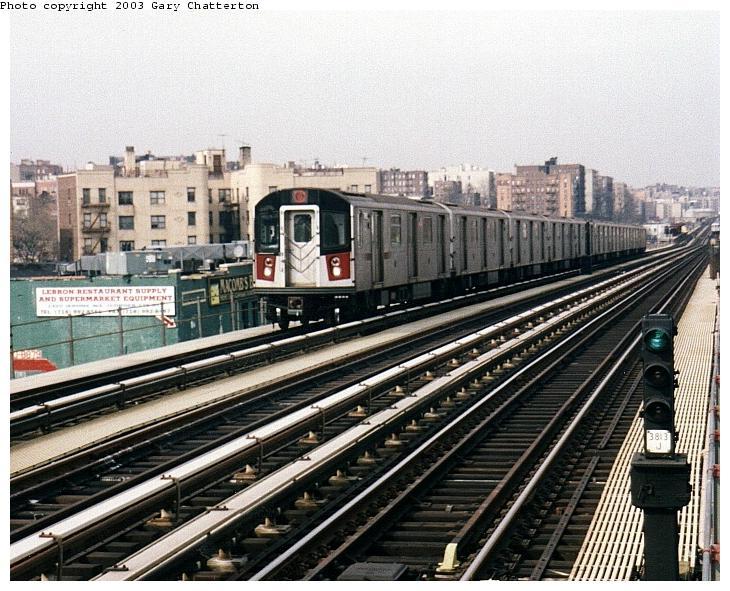 (95k, 730x591)<br><b>Country:</b> United States<br><b>City:</b> New York<br><b>System:</b> New York City Transit<br><b>Line:</b> IRT Woodlawn Line<br><b>Location:</b> 170th Street <br><b>Route:</b> 4<br><b>Car:</b> R-142A (Option Order, Kawasaki, 2002-2003)  7685 <br><b>Photo by:</b> Gary Chatterton<br><b>Date:</b> 4/2/2003<br><b>Viewed (this week/total):</b> 0 / 4889