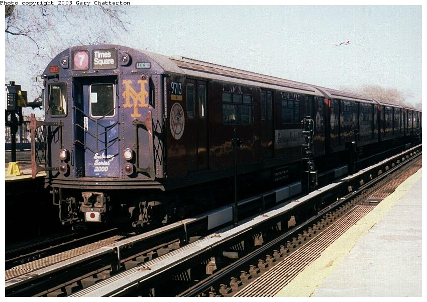 (97k, 850x601)<br><b>Country:</b> United States<br><b>City:</b> New York<br><b>System:</b> New York City Transit<br><b>Line:</b> IRT Flushing Line<br><b>Location:</b> Willets Point/Mets (fmr. Shea Stadium) <br><b>Route:</b> 7<br><b>Car:</b> R-36 World's Fair (St. Louis, 1963-64) 9713 <br><b>Photo by:</b> Gary Chatterton<br><b>Date:</b> 4/24/2003<br><b>Viewed (this week/total):</b> 0 / 4603