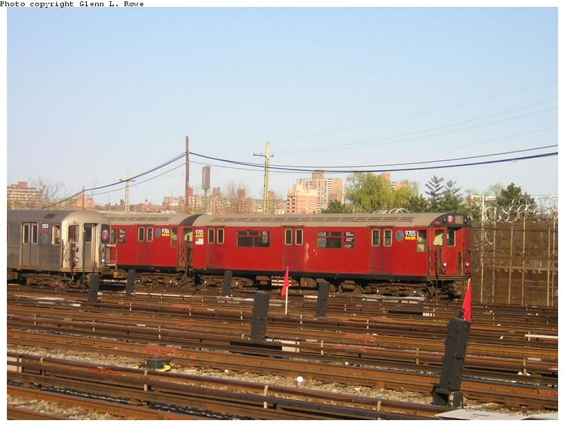 (109k, 820x620)<br><b>Country:</b> United States<br><b>City:</b> New York<br><b>System:</b> New York City Transit<br><b>Location:</b> Corona Yard<br><b>Car:</b> R-36 World's Fair (St. Louis, 1963-64) 9705 <br><b>Photo by:</b> Glenn L. Rowe<br><b>Date:</b> 4/19/2003<br><b>Viewed (this week/total):</b> 6 / 3985