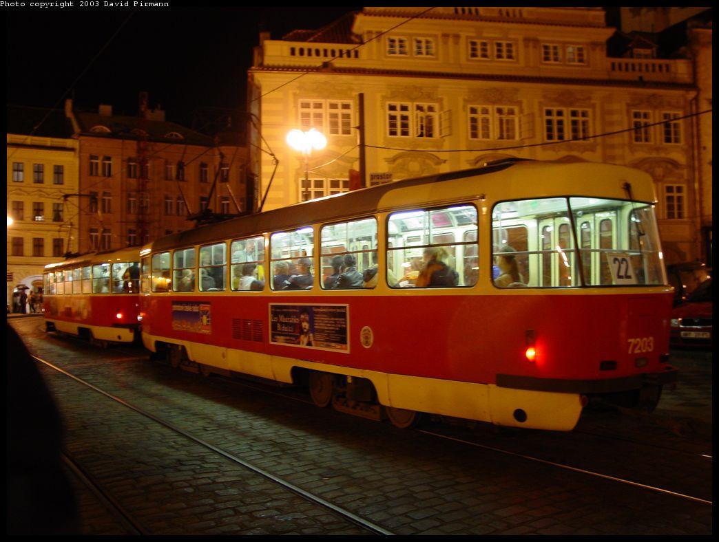 (117k, 1044x788)<br><b>Country:</b> Czech Republic<br><b>City:</b> Prague<br><b>System:</b> DPP (Dopravni podnik Prahy)<br><b>Location:</b> Malostranske Namesti<br><b>Route:</b> 22<br><b>Car:</b> Tatra T3  7203 <br><b>Photo by:</b> David Pirmann<br><b>Date:</b> 5/17/2003<br><b>Viewed (this week/total):</b> 0 / 1352