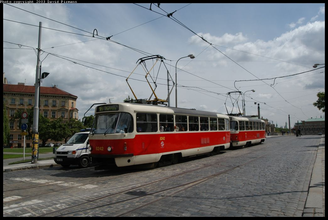 (158k, 1044x701)<br><b>Country:</b> Czech Republic<br><b>City:</b> Prague<br><b>System:</b> DPP (Dopravni podnik Prahy)<br><b>Location:</b> Manesuv Most<br><b>Route:</b> 18<br><b>Car:</b> Tatra T3  8242 <br><b>Photo by:</b> David Pirmann<br><b>Date:</b> 5/21/2003<br><b>Viewed (this week/total):</b> 2 / 1263