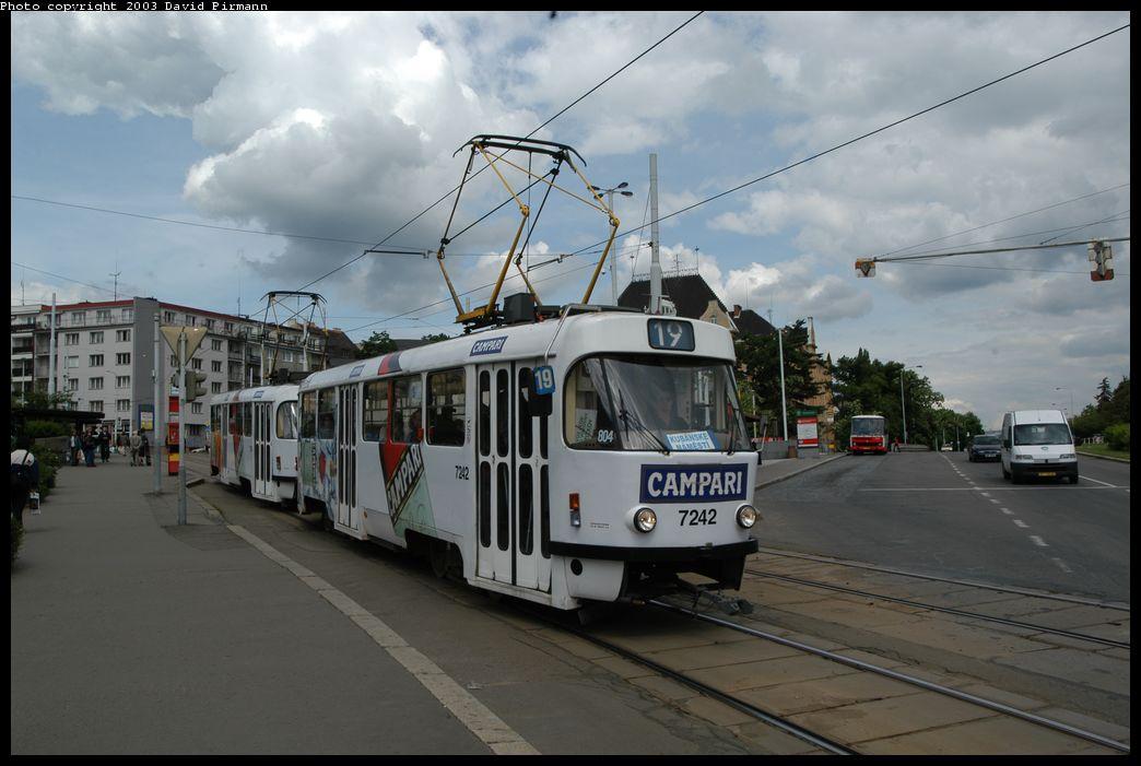 (149k, 1044x701)<br><b>Country:</b> Czech Republic<br><b>City:</b> Prague<br><b>System:</b> DPP (Dopravni podnik Prahy)<br><b>Location:</b> Strasnicka<br><b>Route:</b> 19<br><b>Car:</b> Tatra T3  7242 <br><b>Photo by:</b> David Pirmann<br><b>Date:</b> 5/21/2003<br><b>Viewed (this week/total):</b> 0 / 1119