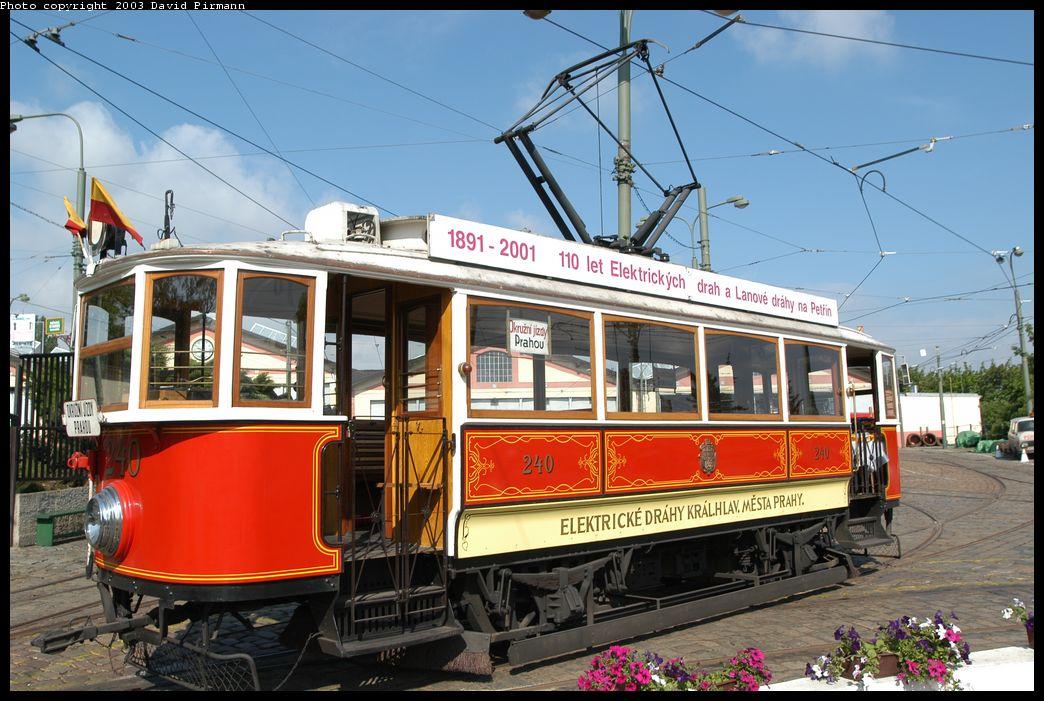 (182k, 1044x701)<br><b>Country:</b> Czech Republic<br><b>City:</b> Prague<br><b>System:</b> DPP (Dopravni podnik Prahy)<br><b>Location:</b> Prague Tram Museum<br><b>Car:</b> Prague Museum Tram 240 <br><b>Photo by:</b> David Pirmann<br><b>Date:</b> 5/18/2003<br><b>Viewed (this week/total):</b> 0 / 1367