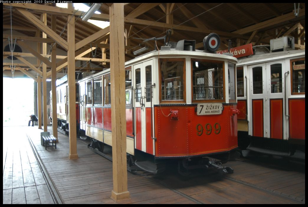 (160k, 1044x701)<br><b>Country:</b> Czech Republic<br><b>City:</b> Prague<br><b>System:</b> DPP (Dopravni podnik Prahy)<br><b>Location:</b> Prague Tram Museum<br><b>Car:</b> Prague Museum Tram 999 <br><b>Photo by:</b> David Pirmann<br><b>Date:</b> 5/18/2003<br><b>Viewed (this week/total):</b> 0 / 1079