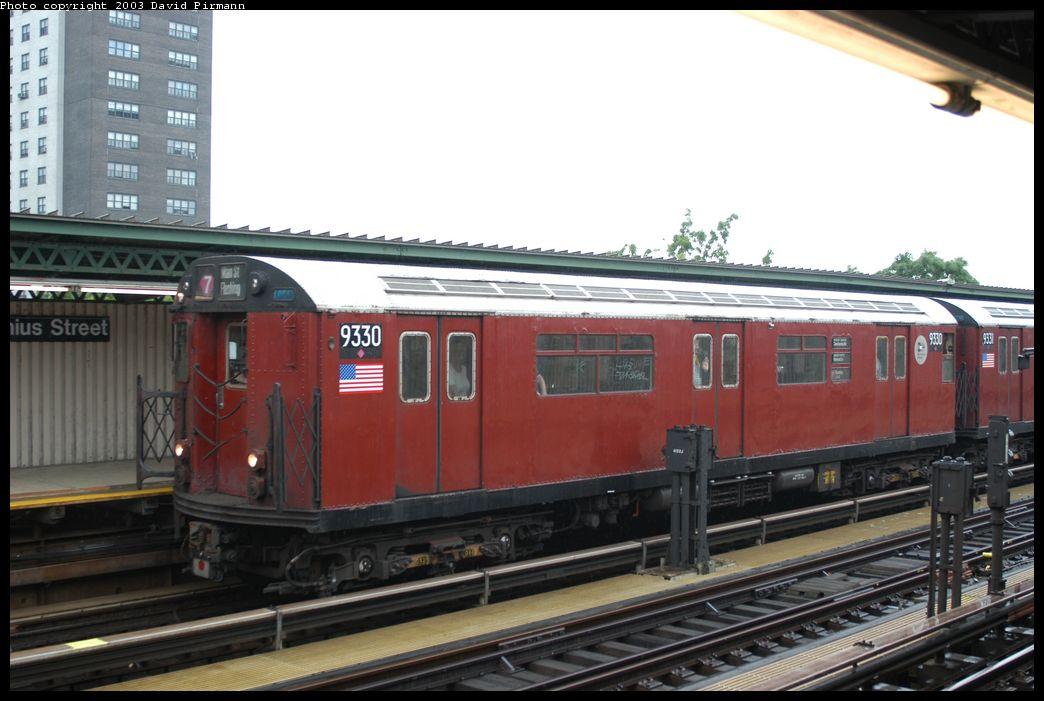 (161k, 1044x701)<br><b>Country:</b> United States<br><b>City:</b> New York<br><b>System:</b> New York City Transit<br><b>Line:</b> IRT Brooklyn Line<br><b>Location:</b> Junius Street <br><b>Route:</b> Fan Trip<br><b>Car:</b> R-33 World's Fair (St. Louis, 1963-64) 9330 <br><b>Photo by:</b> David Pirmann<br><b>Date:</b> 6/7/2003<br><b>Viewed (this week/total):</b> 1 / 5919