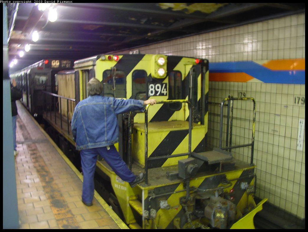 (119k, 1044x788)<br><b>Country:</b> United States<br><b>City:</b> New York<br><b>System:</b> New York City Transit<br><b>Line:</b> IND Queens Boulevard Line<br><b>Location:</b> 179th Street <br><b>Route:</b> Fan Trip<br><b>Car:</b> R-77 Locomotive  894 <br><b>Photo by:</b> David Pirmann<br><b>Date:</b> 6/8/2003<br><b>Viewed (this week/total):</b> 0 / 5322