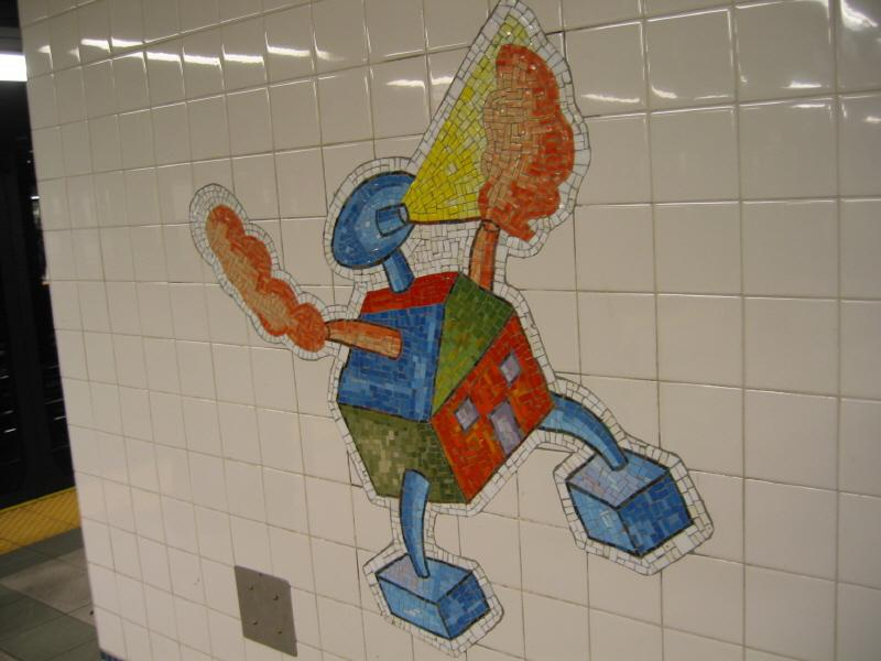 (51k, 800x600)<br><b>Country:</b> United States<br><b>City:</b> New York<br><b>System:</b> New York City Transit<br><b>Line:</b> BMT Broadway Line<br><b>Location:</b> 28th Street <br><b>Photo by:</b> Warren Sze<br><b>Date:</b> 5/27/2003<br><b>Artwork:</b> <i>City Dwellers</i>, Mark Hadjipateras (2002).<br><b>Viewed (this week/total):</b> 0 / 1669