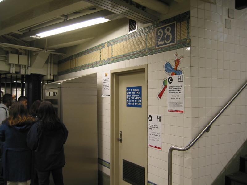 (54k, 800x600)<br><b>Country:</b> United States<br><b>City:</b> New York<br><b>System:</b> New York City Transit<br><b>Line:</b> BMT Broadway Line<br><b>Location:</b> 28th Street <br><b>Photo by:</b> Warren Sze<br><b>Date:</b> 5/31/2003<br><b>Artwork:</b> <i>City Dwellers</i>, Mark Hadjipateras (2002).<br><b>Viewed (this week/total):</b> 2 / 3020