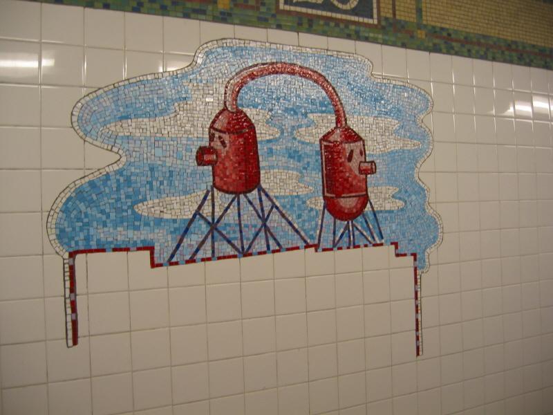 (61k, 800x600)<br><b>Country:</b> United States<br><b>City:</b> New York<br><b>System:</b> New York City Transit<br><b>Line:</b> BMT Broadway Line<br><b>Location:</b> 28th Street <br><b>Photo by:</b> Warren Sze<br><b>Date:</b> 5/31/2003<br><b>Artwork:</b> <i>City Dwellers</i>, Mark Hadjipateras (2002).<br><b>Viewed (this week/total):</b> 0 / 2876