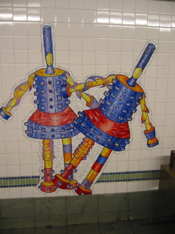(67k, 600x800)<br><b>Country:</b> United States<br><b>City:</b> New York<br><b>System:</b> New York City Transit<br><b>Line:</b> BMT Broadway Line<br><b>Location:</b> 28th Street <br><b>Photo by:</b> Warren Sze<br><b>Date:</b> 5/31/2003<br><b>Artwork:</b> <i>City Dwellers</i>, Mark Hadjipateras (2002).<br><b>Viewed (this week/total):</b> 3 / 2190