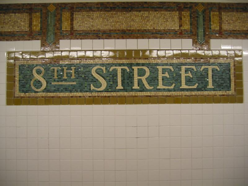 (63k, 800x600)<br><b>Country:</b> United States<br><b>City:</b> New York<br><b>System:</b> New York City Transit<br><b>Line:</b> BMT Broadway Line<br><b>Location:</b> 8th Street <br><b>Photo by:</b> Warren Sze<br><b>Date:</b> 6/13/2003<br><b>Viewed (this week/total):</b> 1 / 2786