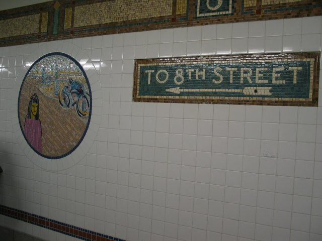 (51k, 640x480)<br><b>Country:</b> United States<br><b>City:</b> New York<br><b>System:</b> New York City Transit<br><b>Line:</b> BMT Broadway Line<br><b>Location:</b> 8th Street <br><b>Photo by:</b> Anthony Thomasel<br><b>Date:</b> 5/21/2003<br><b>Artwork:</b> <i>Broadway Diary</i>, Tim Snell (2002).<br><b>Viewed (this week/total):</b> 0 / 1893