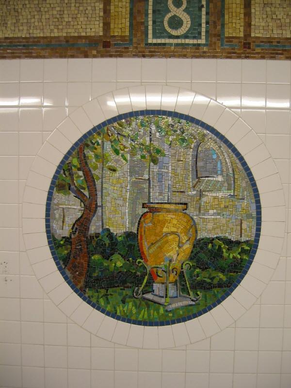 (73k, 600x800)<br><b>Country:</b> United States<br><b>City:</b> New York<br><b>System:</b> New York City Transit<br><b>Line:</b> BMT Broadway Line<br><b>Location:</b> 8th Street <br><b>Photo by:</b> Warren Sze<br><b>Date:</b> 6/13/2003<br><b>Artwork:</b> <i>Broadway Diary</i>, Tim Snell (2002).<br><b>Viewed (this week/total):</b> 3 / 1796