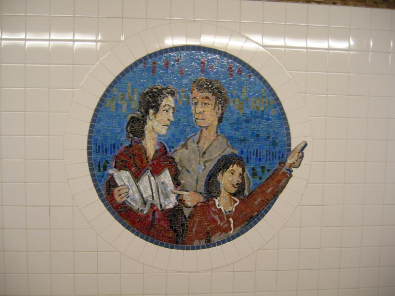 (54k, 800x600)<br><b>Country:</b> United States<br><b>City:</b> New York<br><b>System:</b> New York City Transit<br><b>Line:</b> BMT Broadway Line<br><b>Location:</b> 8th Street <br><b>Photo by:</b> Warren Sze<br><b>Date:</b> 6/13/2003<br><b>Artwork:</b> <i>Broadway Diary</i>, Tim Snell (2002).<br><b>Viewed (this week/total):</b> 0 / 1851