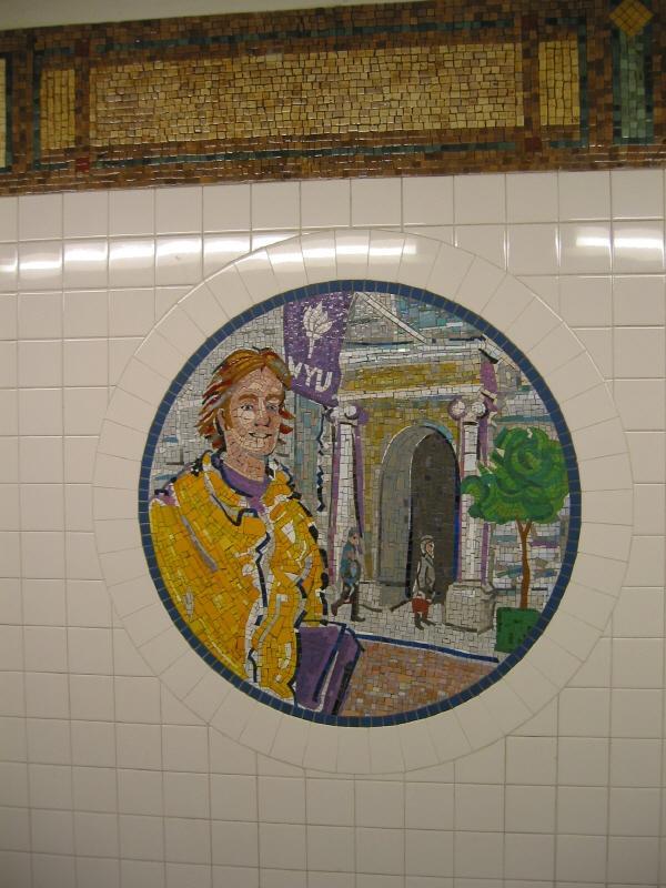 (72k, 600x800)<br><b>Country:</b> United States<br><b>City:</b> New York<br><b>System:</b> New York City Transit<br><b>Line:</b> BMT Broadway Line<br><b>Location:</b> 8th Street <br><b>Photo by:</b> Warren Sze<br><b>Date:</b> 6/13/2003<br><b>Artwork:</b> <i>Broadway Diary</i>, Tim Snell (2002).<br><b>Viewed (this week/total):</b> 1 / 1692