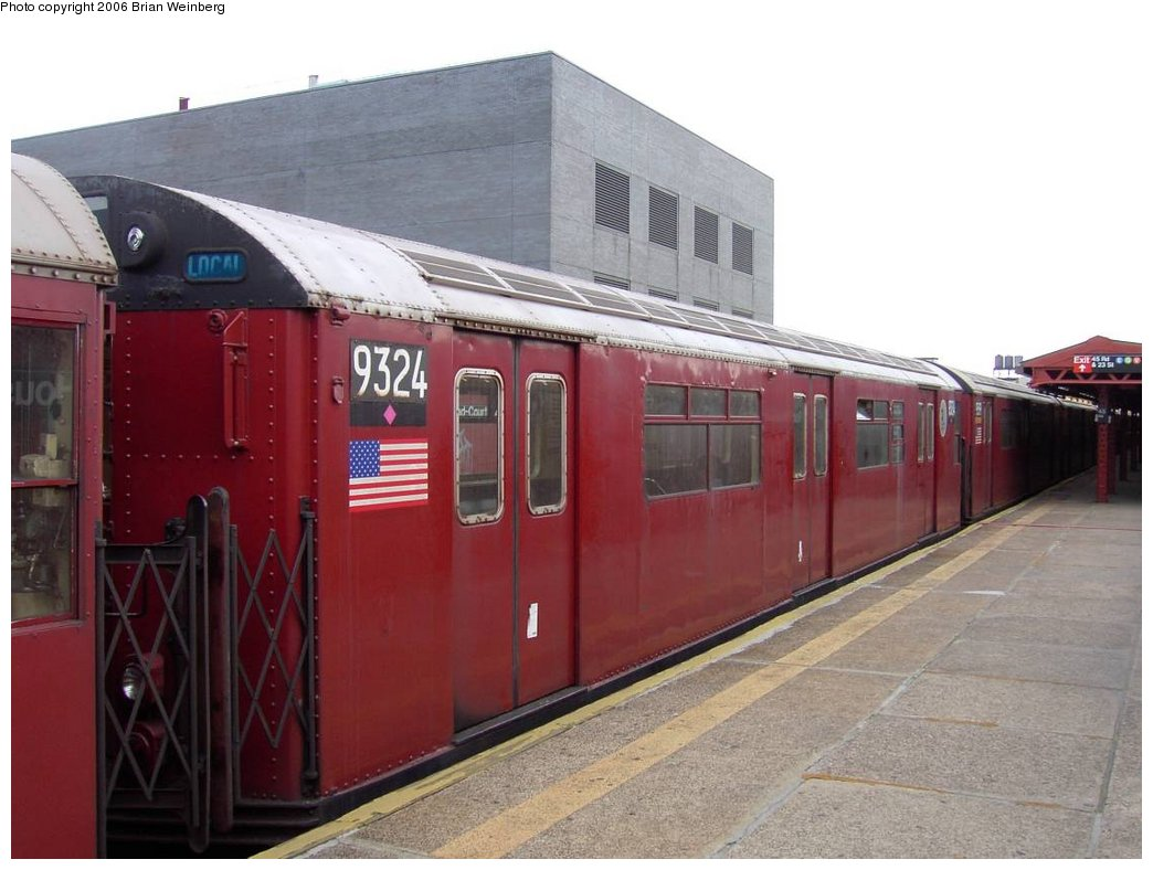(141k, 1044x788)<br><b>Country:</b> United States<br><b>City:</b> New York<br><b>System:</b> New York City Transit<br><b>Line:</b> IRT Flushing Line<br><b>Location:</b> Court House Square/45th Road <br><b>Car:</b> R-33 World's Fair (St. Louis, 1963-64) 9324 <br><b>Photo by:</b> Brian Weinberg<br><b>Date:</b> 6/17/2003<br><b>Viewed (this week/total):</b> 0 / 3103