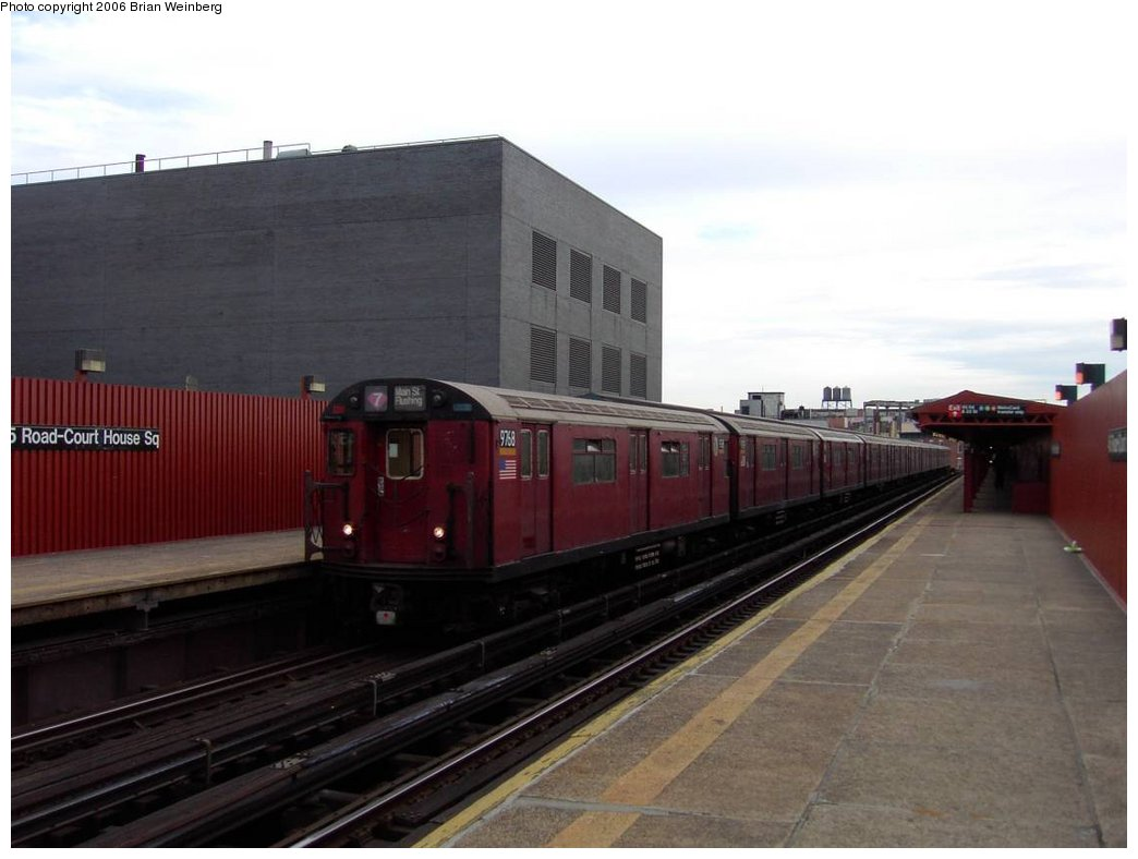 (118k, 1044x788)<br><b>Country:</b> United States<br><b>City:</b> New York<br><b>System:</b> New York City Transit<br><b>Line:</b> IRT Flushing Line<br><b>Location:</b> Court House Square/45th Road <br><b>Car:</b> R-36 World's Fair (St. Louis, 1963-64) 9768 <br><b>Photo by:</b> Brian Weinberg<br><b>Date:</b> 6/17/2003<br><b>Viewed (this week/total):</b> 0 / 2217
