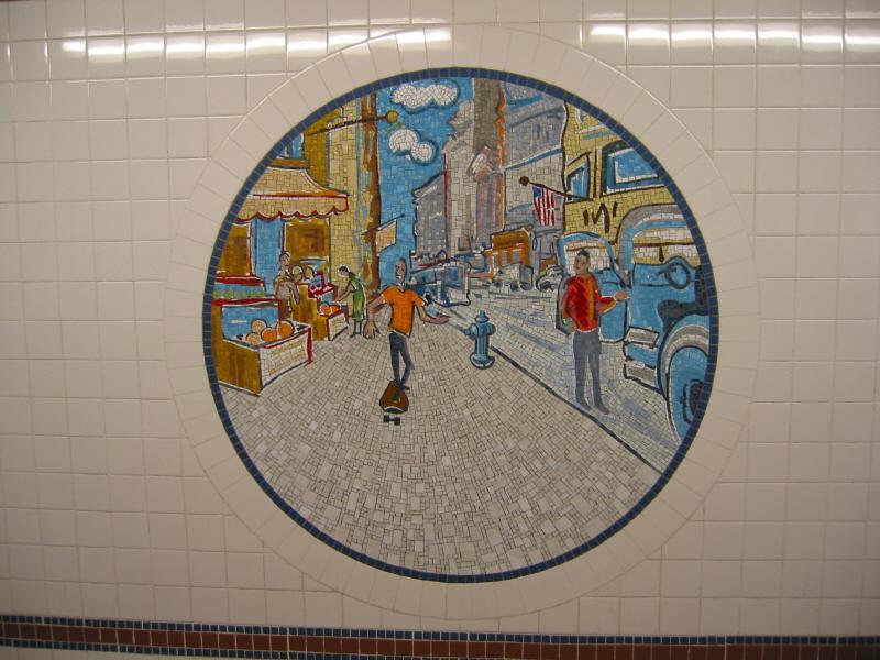 (70k, 800x600)<br><b>Country:</b> United States<br><b>City:</b> New York<br><b>System:</b> New York City Transit<br><b>Line:</b> BMT Broadway Line<br><b>Location:</b> 8th Street <br><b>Photo by:</b> Warren Sze<br><b>Date:</b> 6/13/2003<br><b>Artwork:</b> <i>Broadway Diary</i>, Tim Snell (2002).<br><b>Viewed (this week/total):</b> 0 / 2226