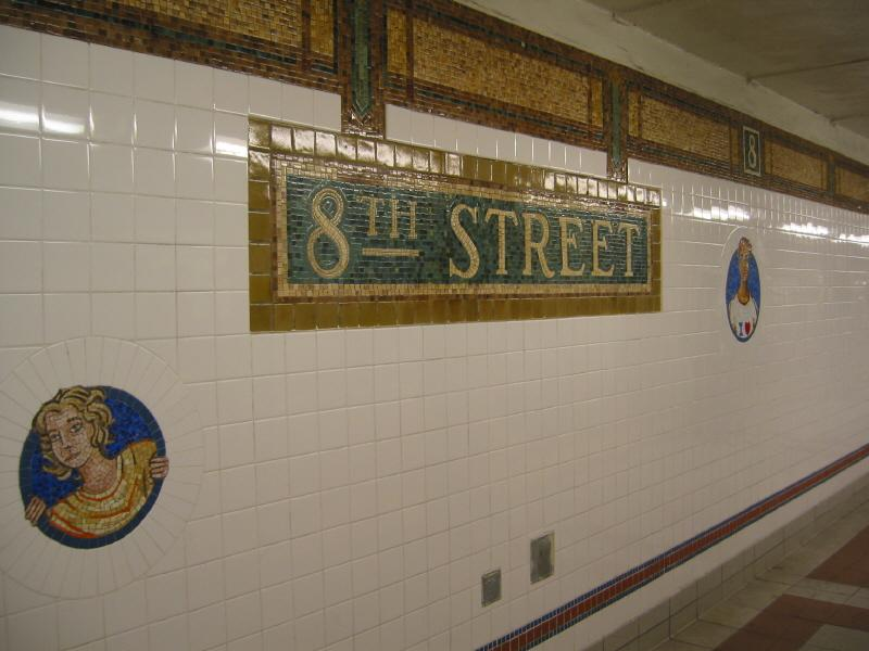 (56k, 800x600)<br><b>Country:</b> United States<br><b>City:</b> New York<br><b>System:</b> New York City Transit<br><b>Line:</b> BMT Broadway Line<br><b>Location:</b> 8th Street <br><b>Photo by:</b> Warren Sze<br><b>Date:</b> 6/13/2003<br><b>Artwork:</b> <i>Broadway Diary</i>, Tim Snell (2002).<br><b>Viewed (this week/total):</b> 4 / 2703
