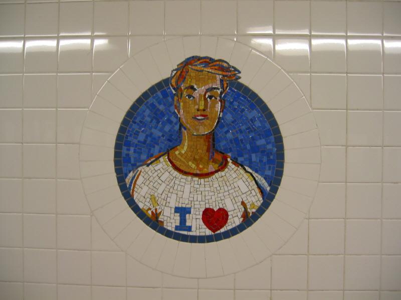 (43k, 800x600)<br><b>Country:</b> United States<br><b>City:</b> New York<br><b>System:</b> New York City Transit<br><b>Line:</b> BMT Broadway Line<br><b>Location:</b> 8th Street <br><b>Photo by:</b> Warren Sze<br><b>Date:</b> 6/13/2003<br><b>Artwork:</b> <i>Broadway Diary</i>, Tim Snell (2002).<br><b>Viewed (this week/total):</b> 0 / 2485