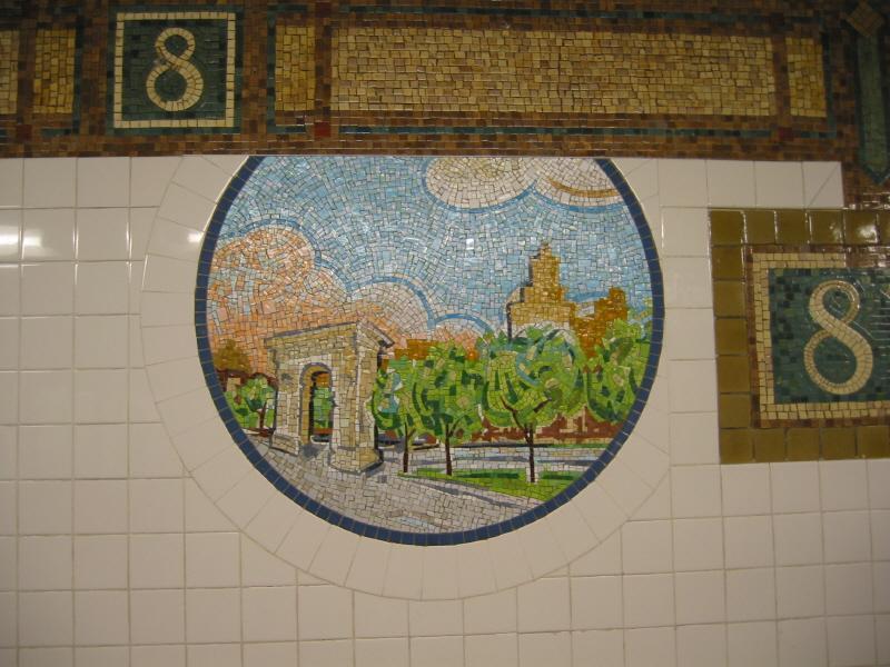 (73k, 800x600)<br><b>Country:</b> United States<br><b>City:</b> New York<br><b>System:</b> New York City Transit<br><b>Line:</b> BMT Broadway Line<br><b>Location:</b> 8th Street <br><b>Photo by:</b> Warren Sze<br><b>Date:</b> 6/13/2003<br><b>Artwork:</b> <i>Broadway Diary</i>, Tim Snell (2002).<br><b>Viewed (this week/total):</b> 1 / 2583