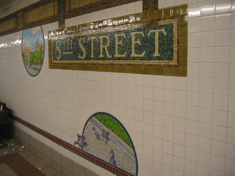 (60k, 800x600)<br><b>Country:</b> United States<br><b>City:</b> New York<br><b>System:</b> New York City Transit<br><b>Line:</b> BMT Broadway Line<br><b>Location:</b> 8th Street <br><b>Photo by:</b> Warren Sze<br><b>Date:</b> 6/13/2003<br><b>Artwork:</b> <i>Broadway Diary</i>, Tim Snell (2002).<br><b>Viewed (this week/total):</b> 0 / 2600