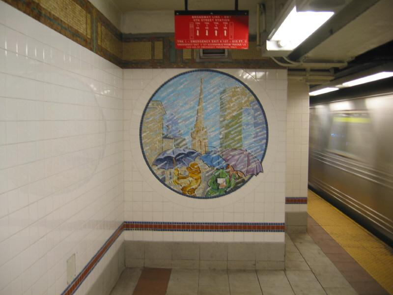 (49k, 800x600)<br><b>Country:</b> United States<br><b>City:</b> New York<br><b>System:</b> New York City Transit<br><b>Line:</b> BMT Broadway Line<br><b>Location:</b> 8th Street <br><b>Photo by:</b> Warren Sze<br><b>Date:</b> 6/13/2003<br><b>Artwork:</b> <i>Broadway Diary</i>, Tim Snell (2002).<br><b>Viewed (this week/total):</b> 0 / 2734