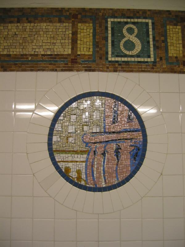 (63k, 600x800)<br><b>Country:</b> United States<br><b>City:</b> New York<br><b>System:</b> New York City Transit<br><b>Line:</b> BMT Broadway Line<br><b>Location:</b> 8th Street <br><b>Photo by:</b> Warren Sze<br><b>Date:</b> 6/13/2003<br><b>Artwork:</b> <i>Broadway Diary</i>, Tim Snell (2002).<br><b>Viewed (this week/total):</b> 0 / 1968
