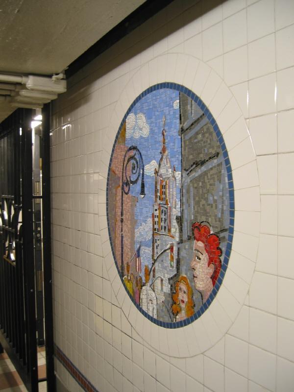 (57k, 600x800)<br><b>Country:</b> United States<br><b>City:</b> New York<br><b>System:</b> New York City Transit<br><b>Line:</b> BMT Broadway Line<br><b>Location:</b> 8th Street <br><b>Photo by:</b> Warren Sze<br><b>Date:</b> 6/13/2003<br><b>Artwork:</b> <i>Broadway Diary</i>, Tim Snell (2002).<br><b>Viewed (this week/total):</b> 0 / 2170