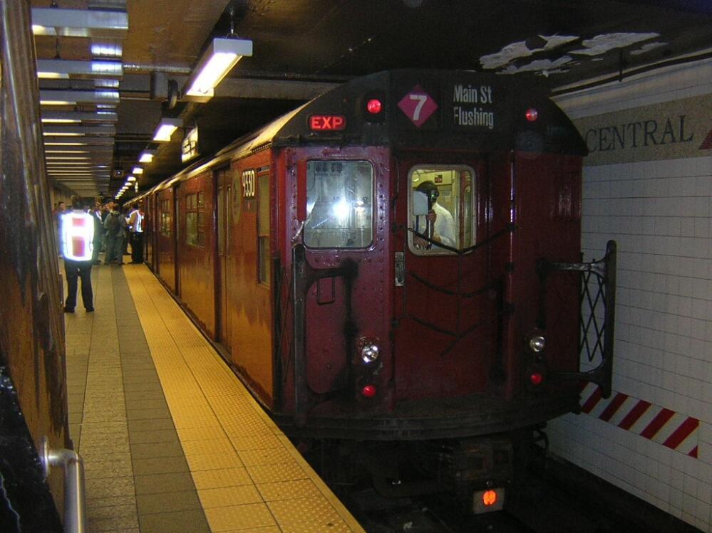 (126k, 999x749)<br><b>Country:</b> United States<br><b>City:</b> New York<br><b>System:</b> New York City Transit<br><b>Line:</b> IRT Times Square-Grand Central Shuttle<br><b>Location:</b> Grand Central <br><b>Route:</b> Fan Trip<br><b>Car:</b> R-33 World's Fair (St. Louis, 1963-64) 9330 <br><b>Photo by:</b> Glenn L. Rowe<br><b>Date:</b> 6/7/2003<br><b>Viewed (this week/total):</b> 0 / 5067