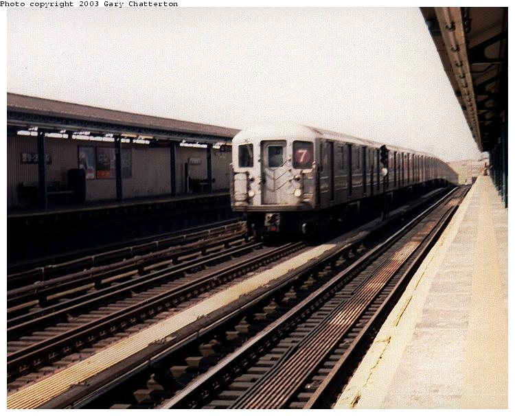 (77k, 750x606)<br><b>Country:</b> United States<br><b>City:</b> New York<br><b>System:</b> New York City Transit<br><b>Line:</b> IRT Flushing Line<br><b>Location:</b> 52nd Street/Lincoln Avenue <br><b>Route:</b> 7<br><b>Car:</b> R-62A (Bombardier, 1984-1987)  1691 <br><b>Photo by:</b> Gary Chatterton<br><b>Date:</b> 5/2003<br><b>Viewed (this week/total):</b> 2 / 3053
