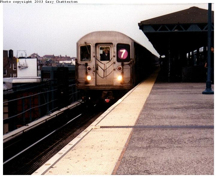 (67k, 725x596)<br><b>Country:</b> United States<br><b>City:</b> New York<br><b>System:</b> New York City Transit<br><b>Line:</b> IRT Flushing Line<br><b>Location:</b> 61st Street/Woodside <br><b>Route:</b> 7<br><b>Car:</b> R-62A (Bombardier, 1984-1987)  2136 <br><b>Photo by:</b> Gary Chatterton<br><b>Date:</b> 5/2003<br><b>Viewed (this week/total):</b> 0 / 2718