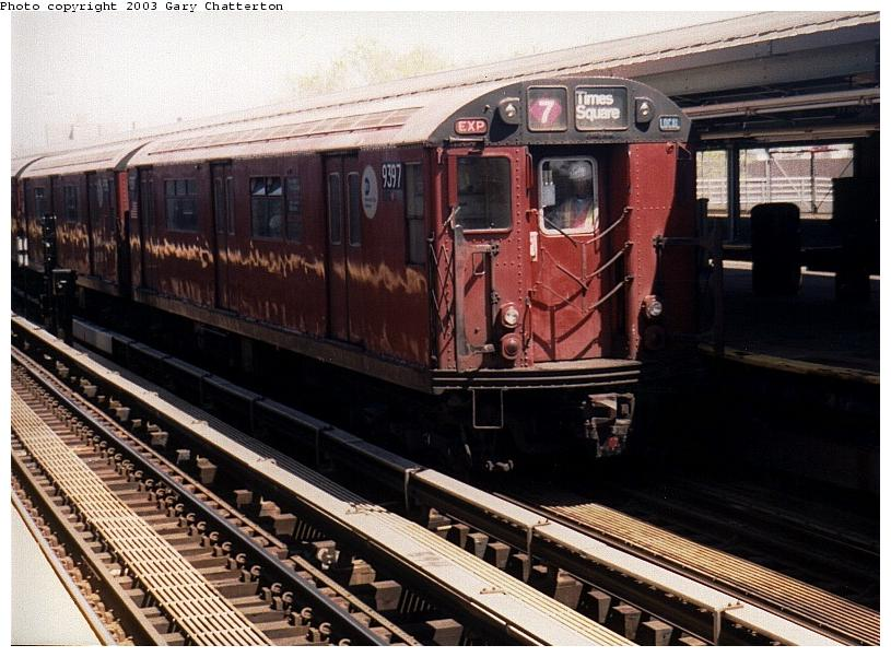 (91k, 815x601)<br><b>Country:</b> United States<br><b>City:</b> New York<br><b>System:</b> New York City Transit<br><b>Line:</b> IRT Flushing Line<br><b>Location:</b> Willets Point/Mets (fmr. Shea Stadium) <br><b>Route:</b> 7<br><b>Car:</b> R-36 World's Fair (St. Louis, 1963-64) 9397 <br><b>Photo by:</b> Gary Chatterton<br><b>Date:</b> 5/2003<br><b>Viewed (this week/total):</b> 1 / 3146