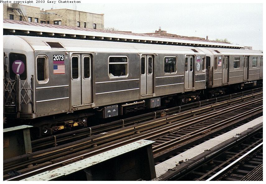 (105k, 855x591)<br><b>Country:</b> United States<br><b>City:</b> New York<br><b>System:</b> New York City Transit<br><b>Line:</b> IRT Flushing Line<br><b>Location:</b> 82nd Street/Jackson Heights <br><b>Route:</b> 7<br><b>Car:</b> R-62A (Bombardier, 1984-1987)  2073 <br><b>Photo by:</b> Gary Chatterton<br><b>Date:</b> 5/16/2003<br><b>Viewed (this week/total):</b> 1 / 3259