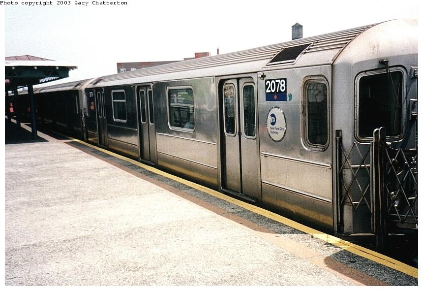 (92k, 860x591)<br><b>Country:</b> United States<br><b>City:</b> New York<br><b>System:</b> New York City Transit<br><b>Line:</b> IRT Flushing Line<br><b>Location:</b> 82nd Street/Jackson Heights <br><b>Route:</b> 7<br><b>Car:</b> R-62A (Bombardier, 1984-1987)  2078 <br><b>Photo by:</b> Gary Chatterton<br><b>Date:</b> 5/16/2003<br><b>Viewed (this week/total):</b> 3 / 3294