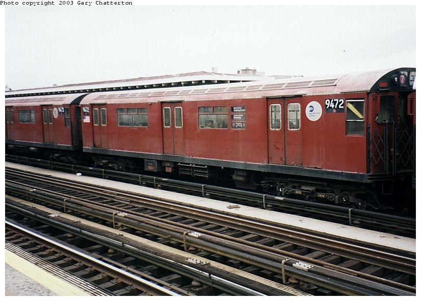 (91k, 825x591)<br><b>Country:</b> United States<br><b>City:</b> New York<br><b>System:</b> New York City Transit<br><b>Line:</b> IRT Flushing Line<br><b>Location:</b> 82nd Street/Jackson Heights <br><b>Route:</b> 7<br><b>Car:</b> R-36 World's Fair (St. Louis, 1963-64) 9472 <br><b>Photo by:</b> Gary Chatterton<br><b>Date:</b> 5/2003<br><b>Viewed (this week/total):</b> 6 / 3713