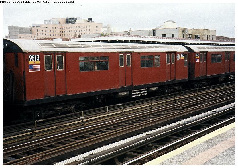 (101k, 835x591)<br><b>Country:</b> United States<br><b>City:</b> New York<br><b>System:</b> New York City Transit<br><b>Line:</b> IRT Flushing Line<br><b>Location:</b> 82nd Street/Jackson Heights <br><b>Route:</b> 7<br><b>Car:</b> R-36 World's Fair (St. Louis, 1963-64) 9613 <br><b>Photo by:</b> Gary Chatterton<br><b>Date:</b> 5/2003<br><b>Viewed (this week/total):</b> 0 / 3139