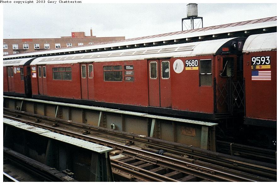 (94k, 890x591)<br><b>Country:</b> United States<br><b>City:</b> New York<br><b>System:</b> New York City Transit<br><b>Line:</b> IRT Flushing Line<br><b>Location:</b> 82nd Street/Jackson Heights <br><b>Route:</b> 7<br><b>Car:</b> R-36 World's Fair (St. Louis, 1963-64) 9680 <br><b>Photo by:</b> Gary Chatterton<br><b>Date:</b> 5/2003<br><b>Viewed (this week/total):</b> 2 / 3373