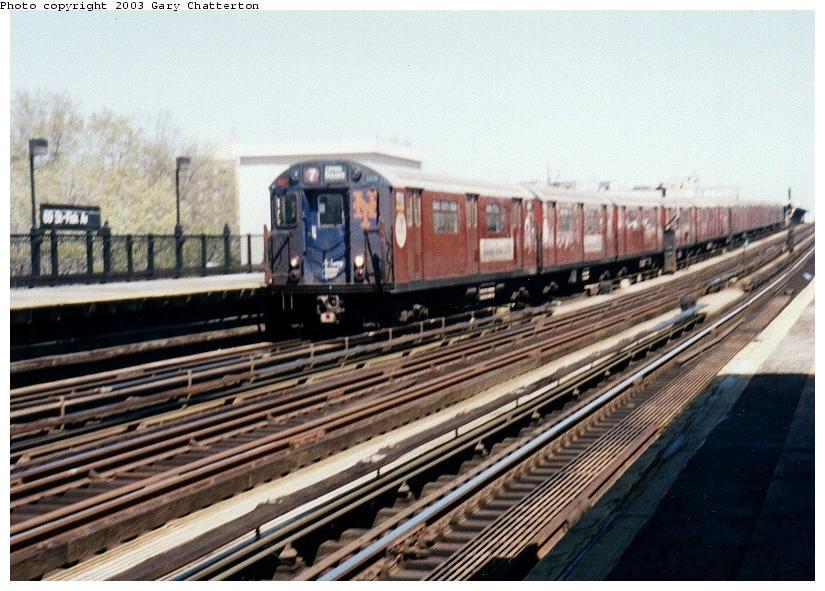 (87k, 825x591)<br><b>Country:</b> United States<br><b>City:</b> New York<br><b>System:</b> New York City Transit<br><b>Line:</b> IRT Flushing Line<br><b>Location:</b> 69th Street/Fisk Avenue <br><b>Route:</b> 7<br><b>Car:</b> R-36 World's Fair (St. Louis, 1963-64) 9713 <br><b>Photo by:</b> Gary Chatterton<br><b>Date:</b> 5/2003<br><b>Viewed (this week/total):</b> 1 / 2989