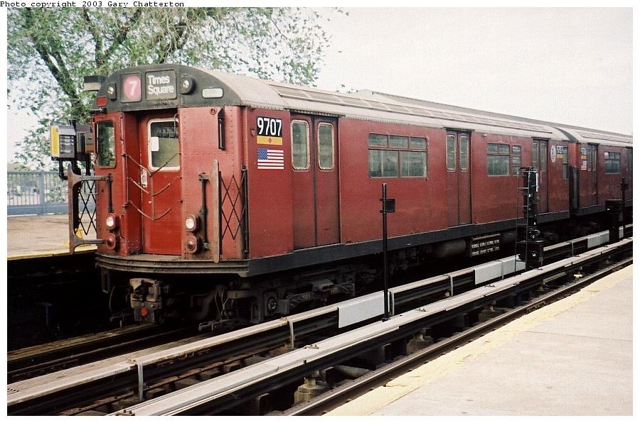 (107k, 900x596)<br><b>Country:</b> United States<br><b>City:</b> New York<br><b>System:</b> New York City Transit<br><b>Line:</b> IRT Flushing Line<br><b>Location:</b> Willets Point/Mets (fmr. Shea Stadium) <br><b>Route:</b> 7<br><b>Car:</b> R-36 World's Fair (St. Louis, 1963-64) 9707 <br><b>Photo by:</b> Gary Chatterton<br><b>Date:</b> 5/24/2003<br><b>Viewed (this week/total):</b> 2 / 2574