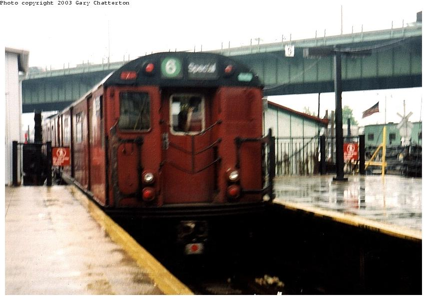 (67k, 855x601)<br><b>Country:</b> United States<br><b>City:</b> New York<br><b>System:</b> New York City Transit<br><b>Line:</b> IRT White Plains Road Line<br><b>Location:</b> East 180th Street <br><b>Route:</b> Fan Trip<br><b>Car:</b> R-33 World's Fair (St. Louis, 1963-64) 9329 <br><b>Photo by:</b> Gary Chatterton<br><b>Date:</b> 6/7/2003<br><b>Viewed (this week/total):</b> 0 / 4765