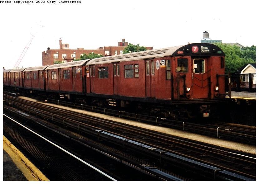 (73k, 830x591)<br><b>Country:</b> United States<br><b>City:</b> New York<br><b>System:</b> New York City Transit<br><b>Line:</b> IRT Flushing Line<br><b>Location:</b> 69th Street/Fisk Avenue <br><b>Route:</b> 7<br><b>Car:</b> R-36 World's Fair (St. Louis, 1963-64) 9621 <br><b>Photo by:</b> Gary Chatterton<br><b>Date:</b> 6/4/2003<br><b>Viewed (this week/total):</b> 0 / 3413