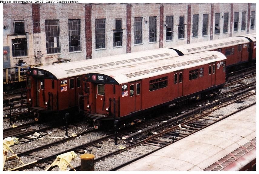 (126k, 855x576)<br><b>Country:</b> United States<br><b>City:</b> New York<br><b>System:</b> New York City Transit<br><b>Location:</b> Corona Yard<br><b>Car:</b> R-33 World's Fair (St. Louis, 1963-64) 9318 <br><b>Photo by:</b> Gary Chatterton<br><b>Date:</b> 6/12/2003<br><b>Notes:</b> With R36 9719<br><b>Viewed (this week/total):</b> 0 / 3476